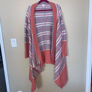 Fun coral/blue patterned Sundance Cardigan